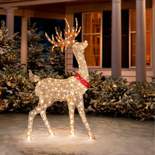Glittering Champagne Reindeer Christmas Reindeer Decorations Christmas Deer Decorations Christmas Decorations Sale
