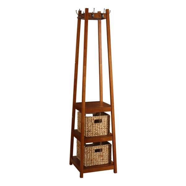 H2o Furnishings Coat Rack With Three Shelves And Two