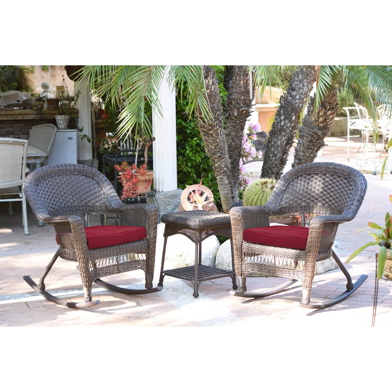 outdoor jeco 3 pc wicker rocker chair set with side table red in rh pinterest com