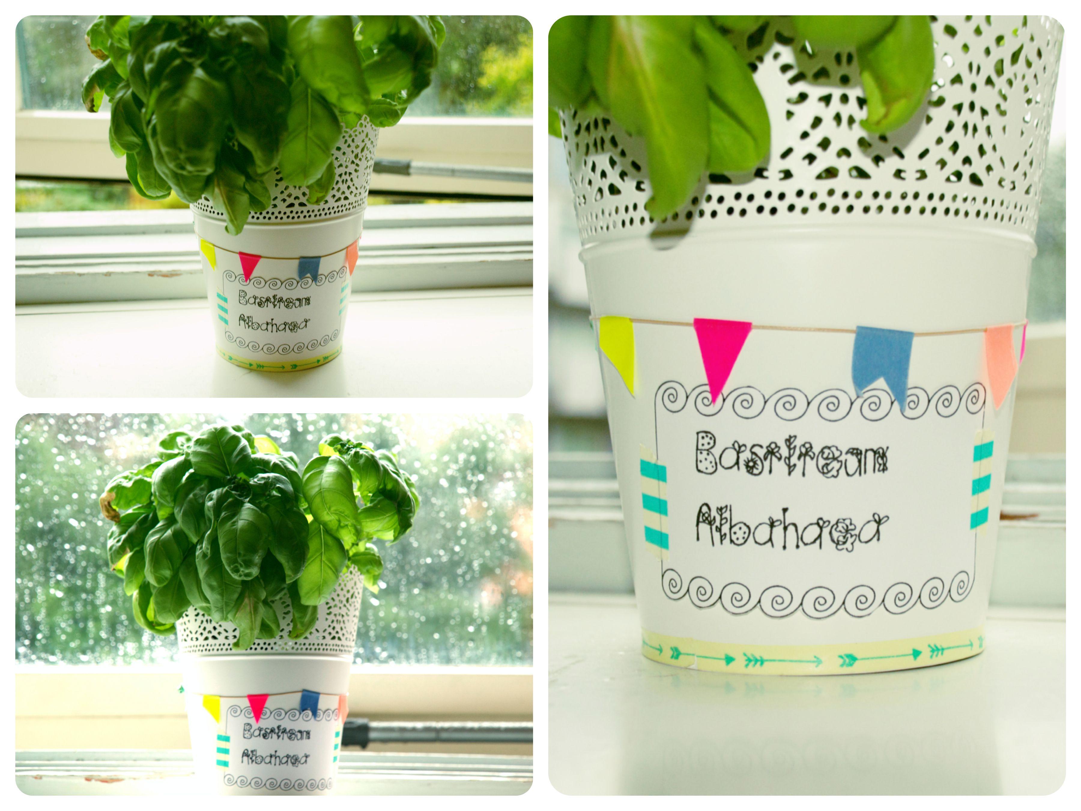 Washi tape an Ikea flower pot.