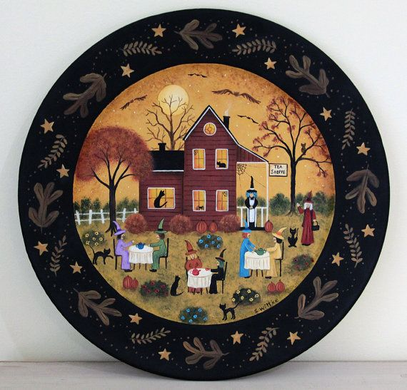 Folk Art Halloween Wood Plate - READY TO SHIP - Hand Painted Primitive Wooden Plate- Tea Shop Witches black cats pumpkins bat spider web & Halloween Decoration Primitive Folk Art Hand by RavensBendFolkArt ...