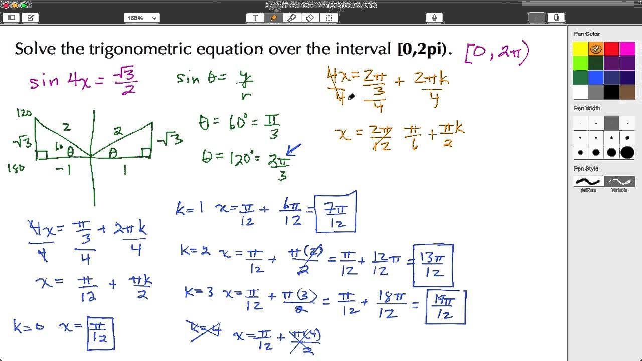 Click Here To Learn How To Solve A Quadratic Trigonometric Equation Over A Specified Interval 0 2pi Verify The Soluti Solving Equations Quadratics Solving