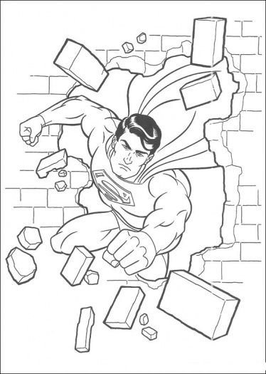 Superman Has Damaged The Wall Coloring Page Supercoloring Com Superhero Coloring Pages Superman Coloring Pages Superhero Coloring