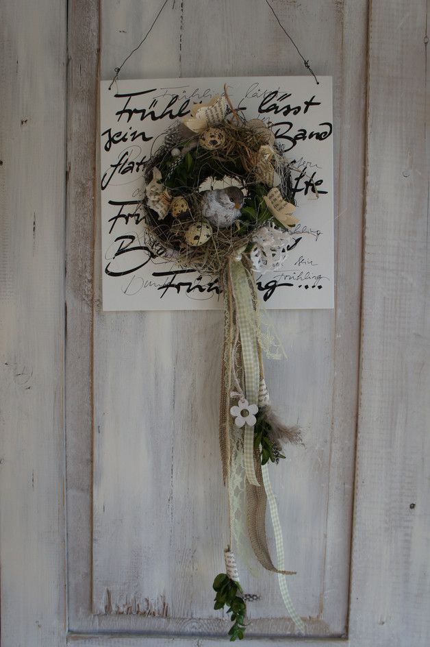 Osterdeko - Tür/Wanddeko  Alle Vöglein sind schon da.... - ein Designerstück von Hoimeliges bei DaWanda #frühlingblumen