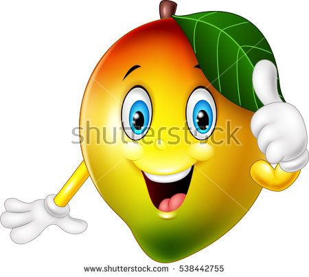 Cartoon Mango Giving Thumbs Up Drawing For Kids Cute Drawings Cute Fruit