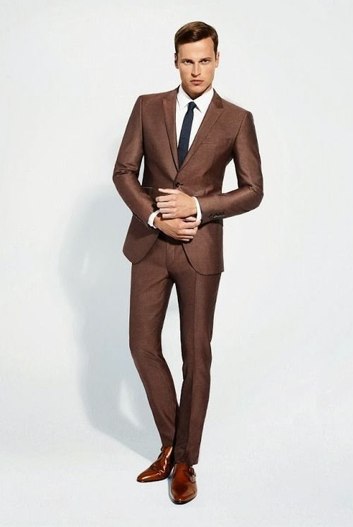 Click to Buy << Tailored Made Brown Wedding Prom Suits For Men ...