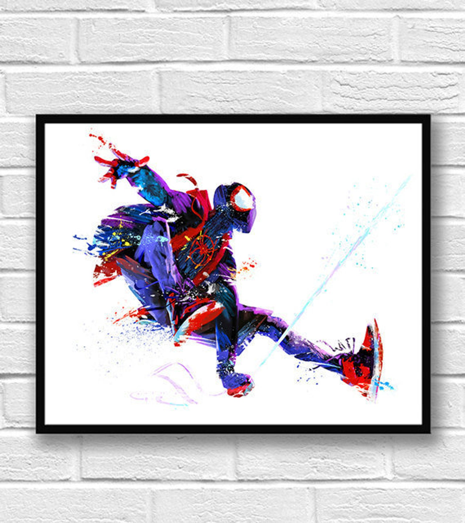 Miles Morales Poster Spiderman Marvel Wall Art Into the SpiderVerse Print Avenge