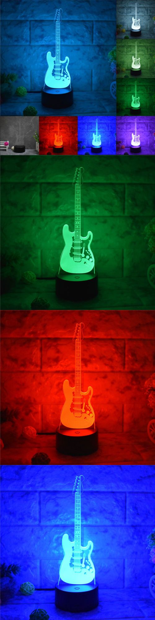 Lamps 112581 Electric Guitar 3d Acrylic Led Touch Night Light 7 Color Home Decor Table Lamp Buy It Now Only 19 99 On E Night Light Led Night Light Decor