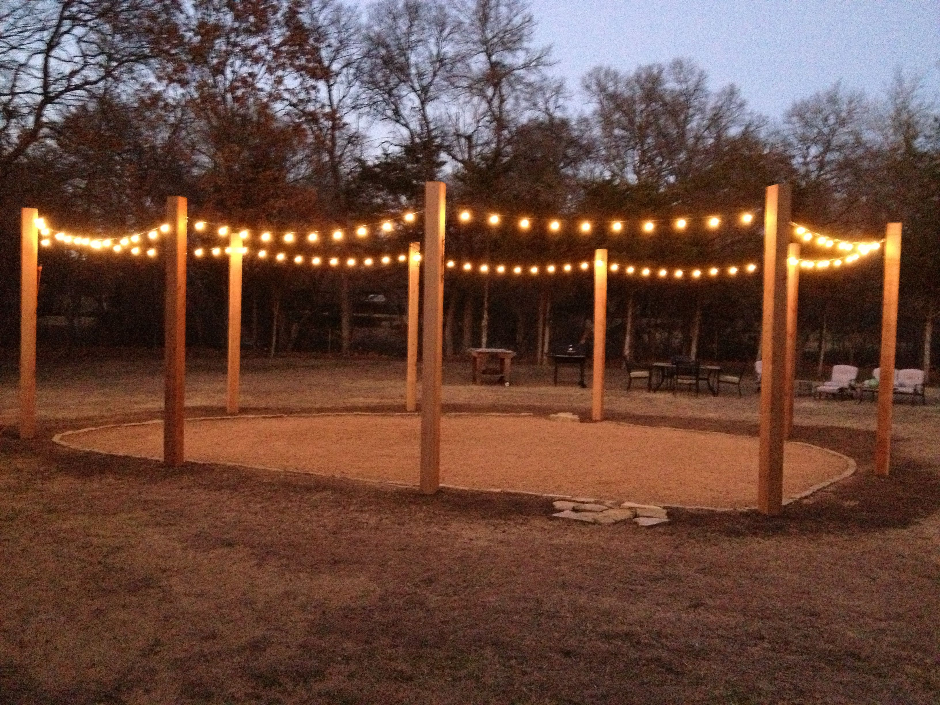 6x6x12 cedar posts turned into our string light patio Love it