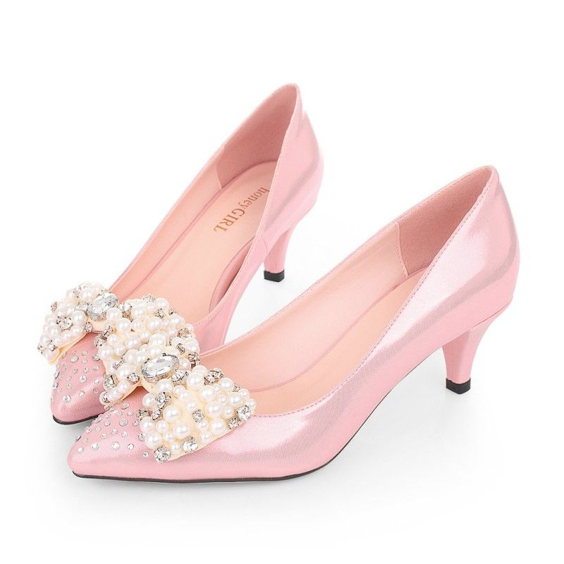 Hg Pointed Toe Pink Kitten Heels Sparkly Rhinestone Bridal Shoes Online With Pearl Bow