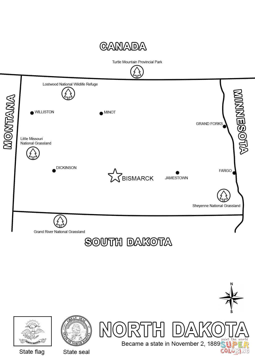 Click the Map of North Dakota coloring pages to view printable ...