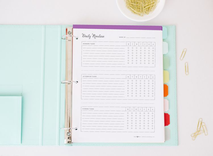 Pretty (and functional!) daily routine charts from Elle & Company