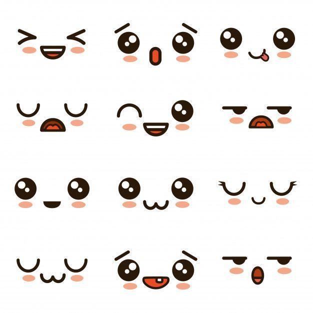Cute Faces Kawaii Emoji Cartoon Premium Vector Cartoon Cute