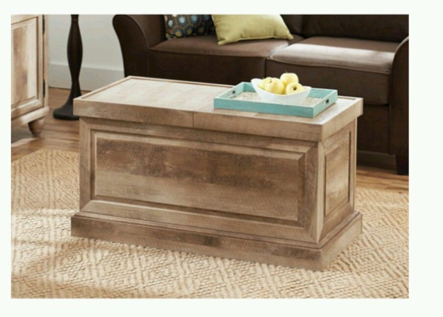 New Reclaimed Wood Rustic Oak Wash Trunk Coffee Table Storage Sliding Top