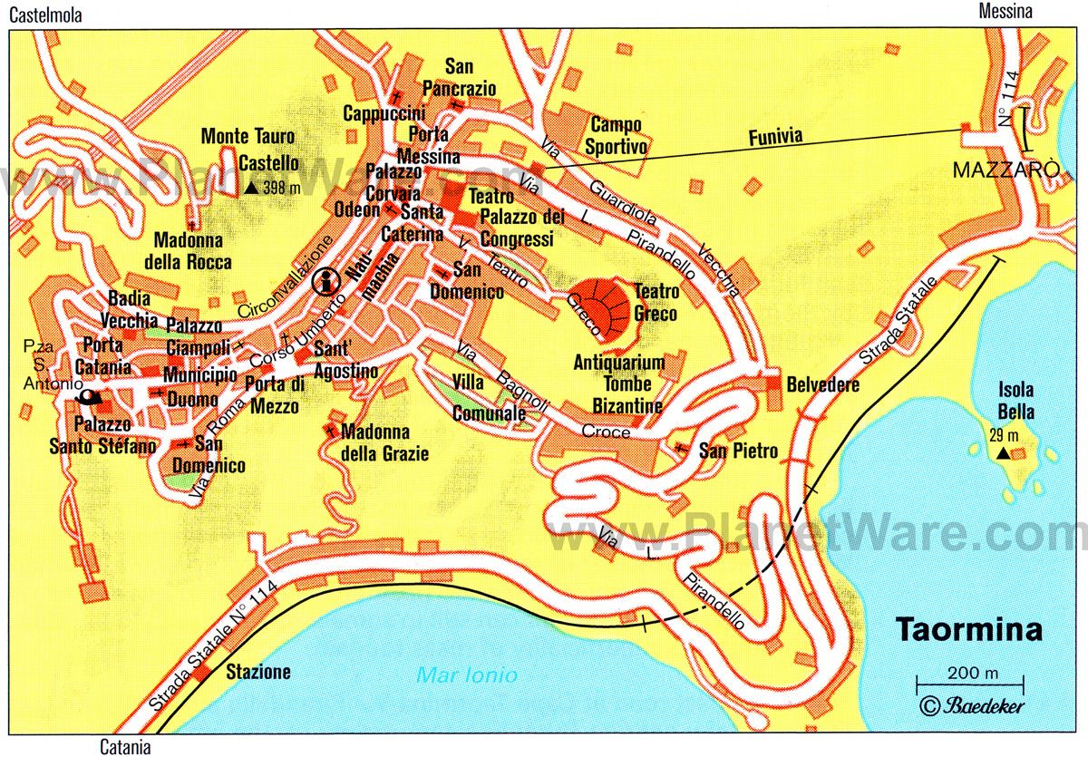 Map of Taormina attractions Maps Pinterest Sicily Tourist