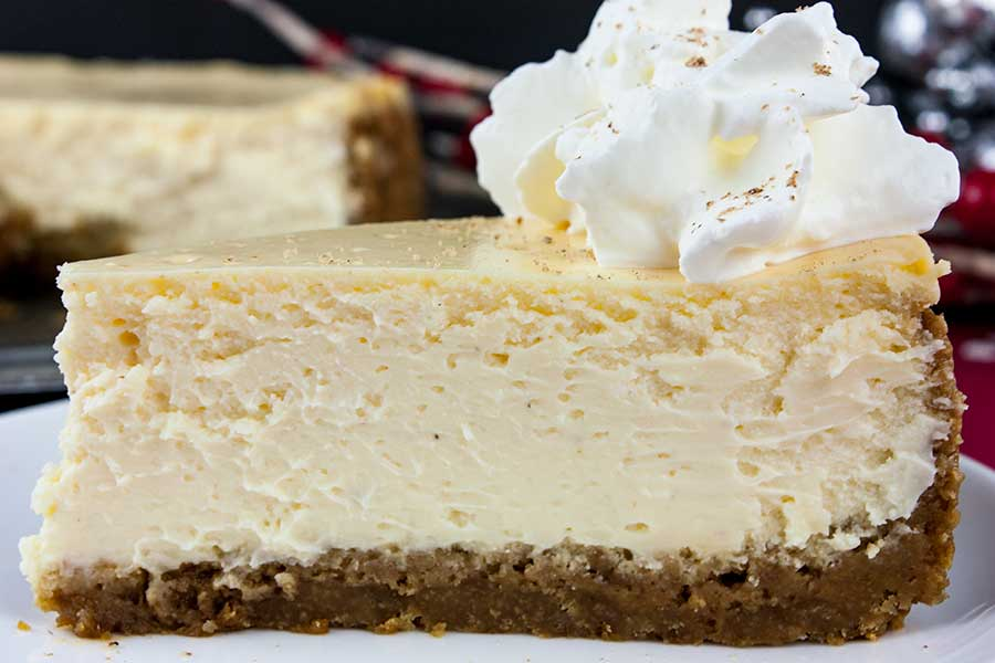 Eggnog Cheesecake with Gingersnap Crust - Don't Sweat The Recipe #eggnogcheesecake