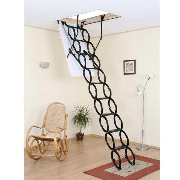 Echelle Escamotable Accordeon En Acier Echelle Escamotable Echelle Deco Escalier