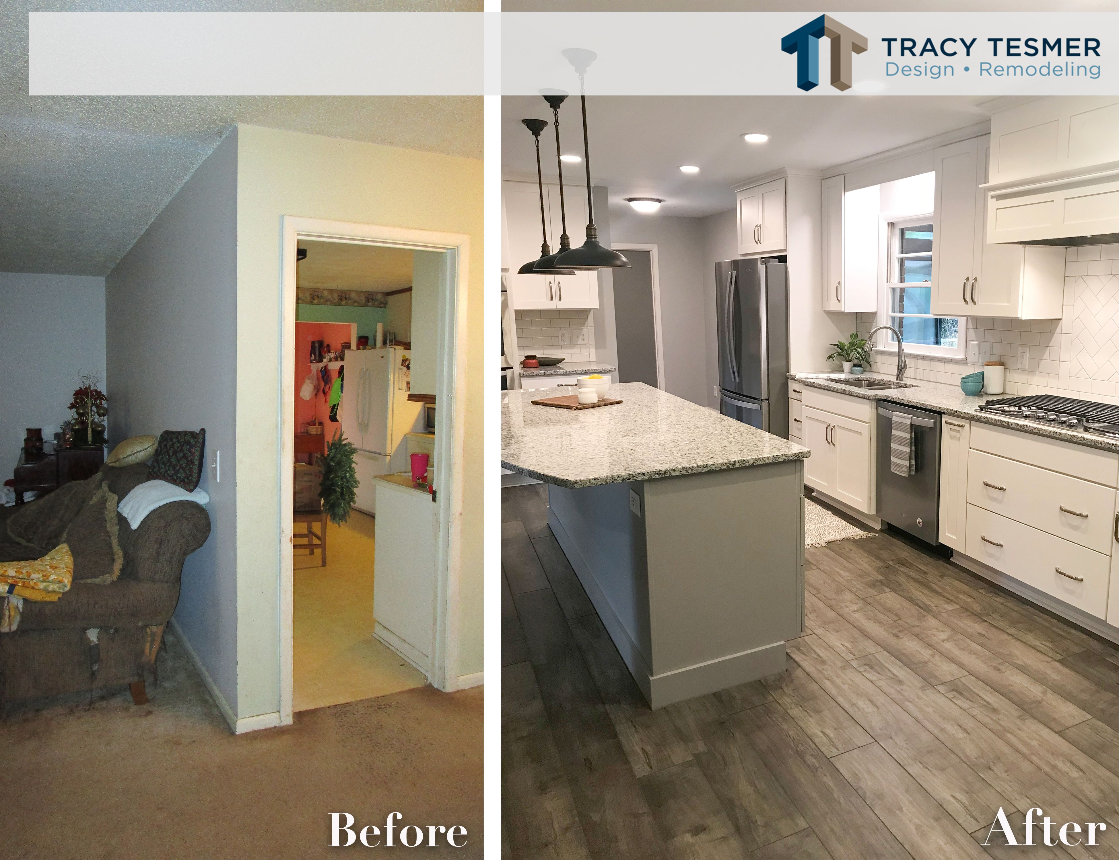Here S A Before And After From A Recent Project Taking Down Walls May Not Always Suit The Project B Home Remodeling Contractors Home Remodeling Design Remodel