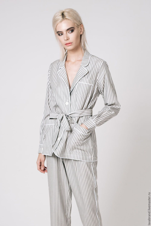 2b5ead92040db Купить Костюм Пижама Серый - белый, в полоску, костюм в полоску, пижама,  женский костюм