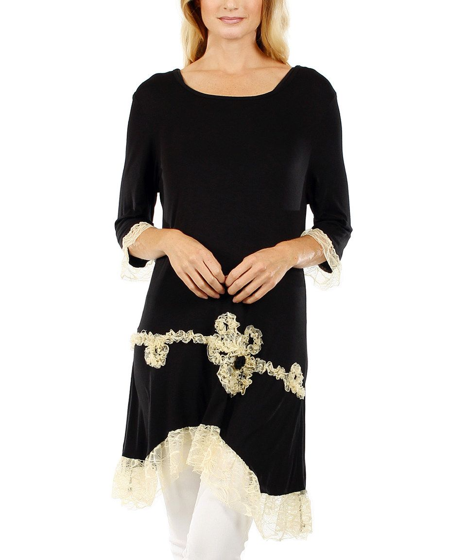 Another great find on #zulily! Black & Beige Lace Sidetail Tunic by Lily #zulilyfinds