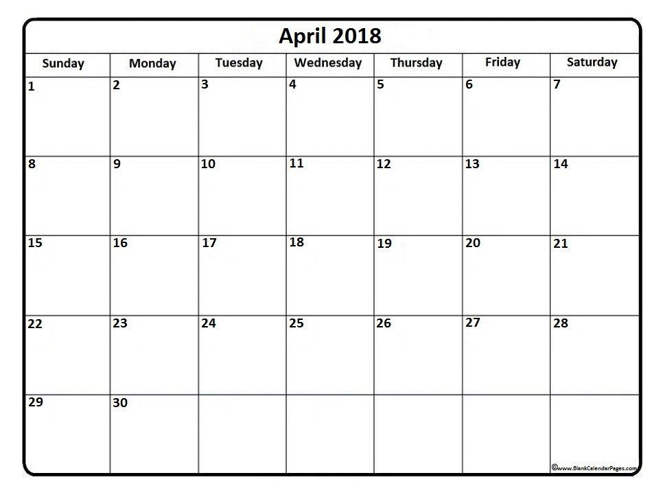 April 2018 Calendar April 2018 Calendar Printable Calendar
