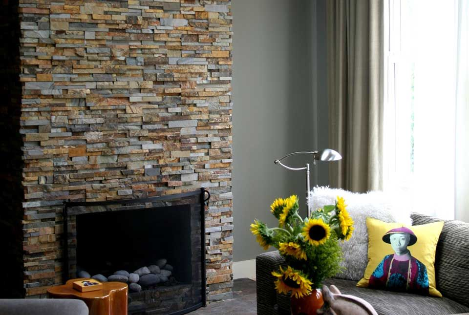 GroB Natural Stacked Stone Veneer Fireplace