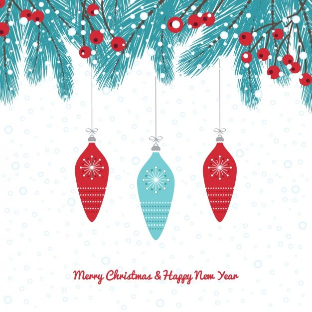 Blue And Red Christmas Baubles Background Free Vector