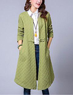 Mulheres Casaco Trench Casual Moda de Rua Outono,Sólido Vermelho / Verde Algodão / Linho Decote Redondo-Manga Longa Média