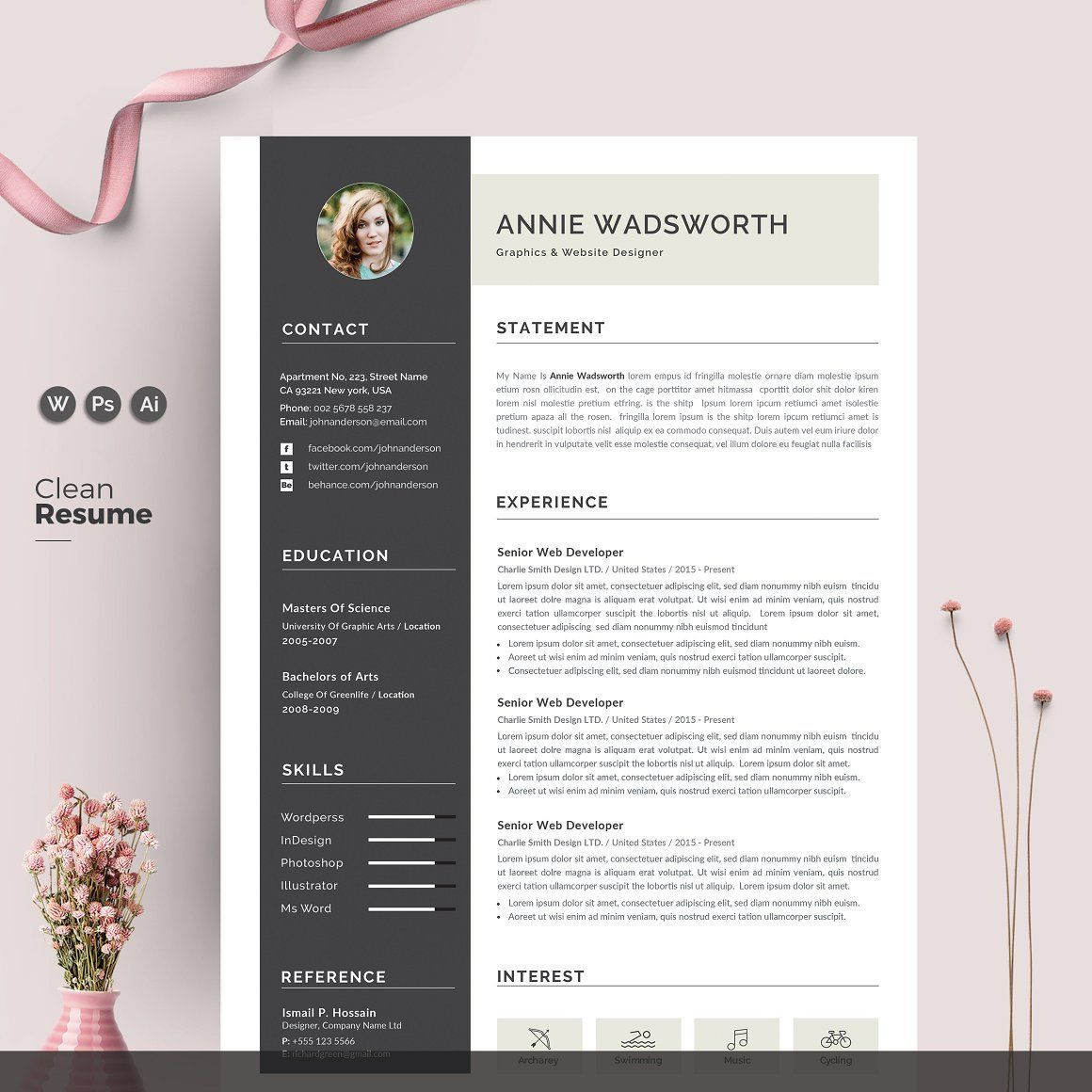 Word Resume template/CV. It is easily editable for easy