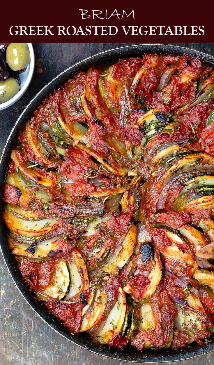 Briam: Traditional Greek Roasted Vegetables #mediterraneanrecipes