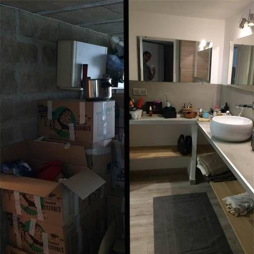 Le cellier a été transformé en salle de bain, avec une douche à l