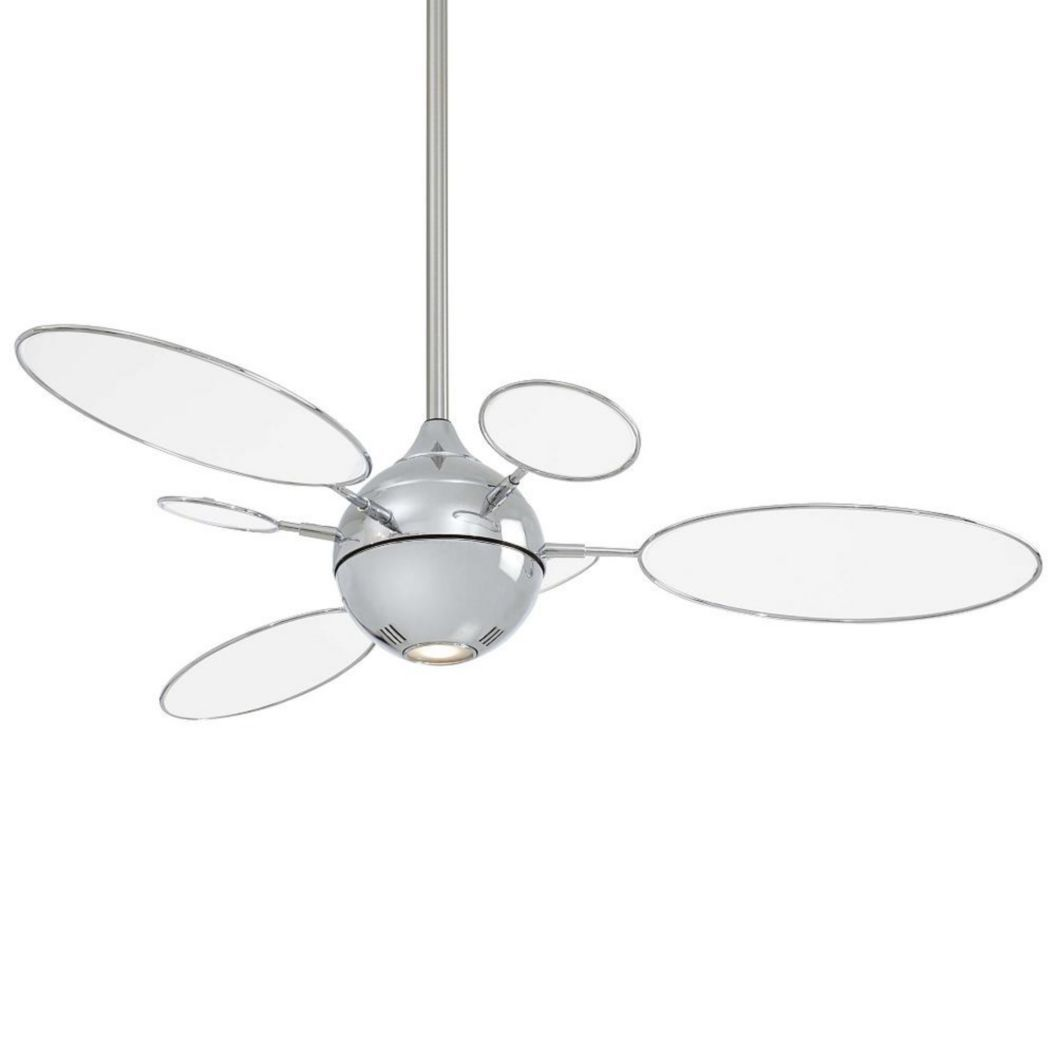 The Cirque Fan From Minka Aire In Polished Nickel With Translucent