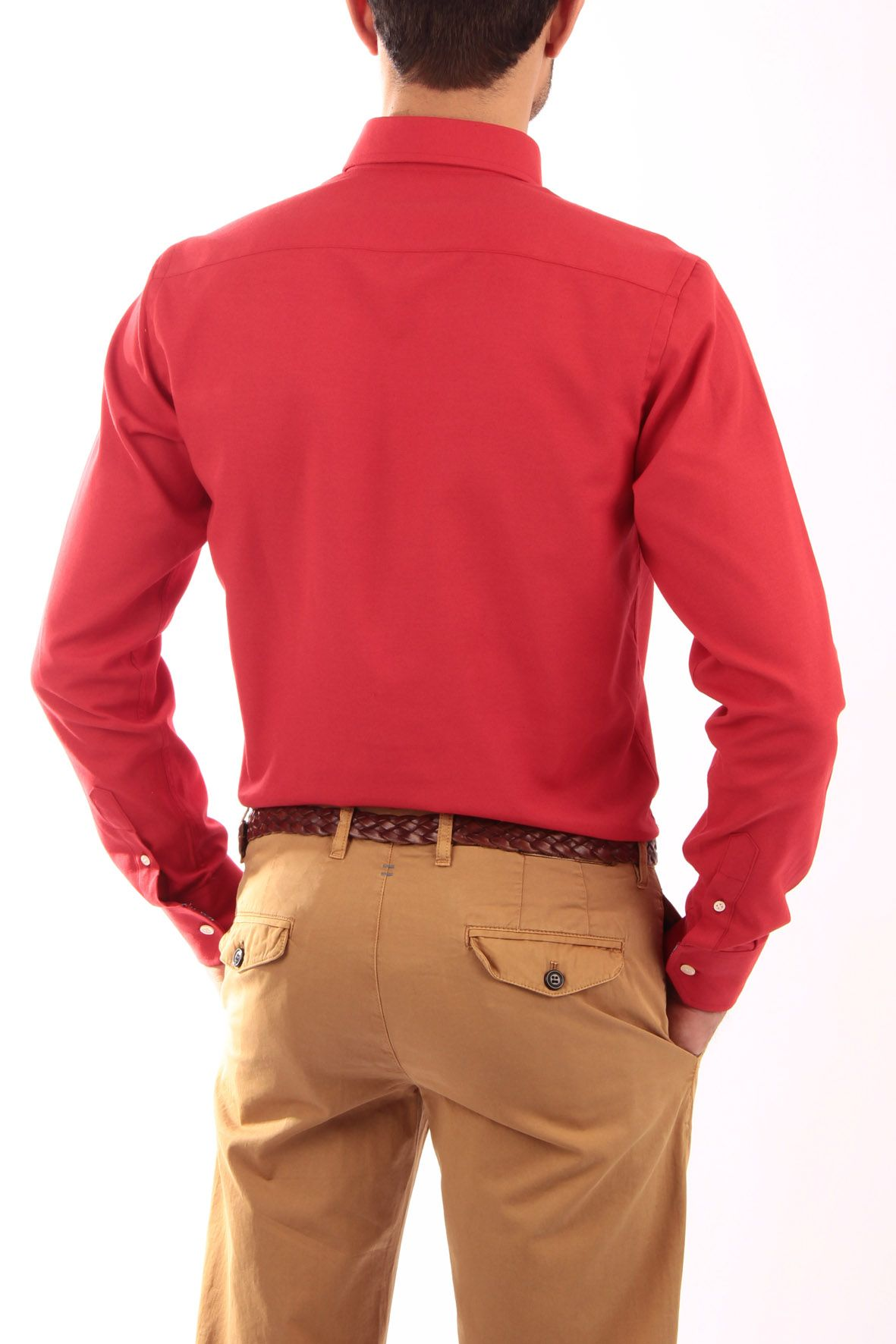 ce606d8269 interior escocesa Detalles escocesa cinta en del Oxford roja Detalle  bordado cuello de vista Camisa interior ...