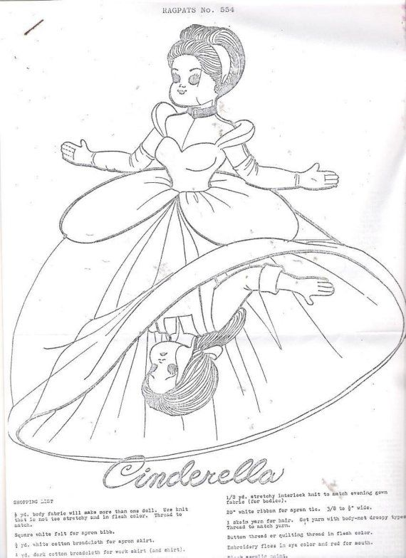 Cinderella Topsy Turvy Cloth Doll Pattern Rag Doll Clothing