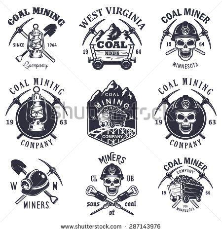 Set of vintage coal mining emblems, labels, badges, logos
