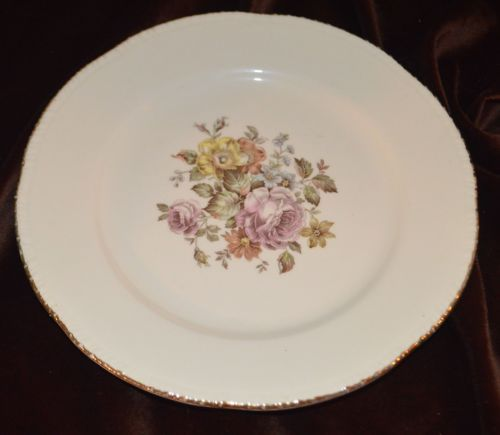 Cunningham-amp-Picket-Hand-Decorated-22k-Gold-and-Roses-Plate-Dish