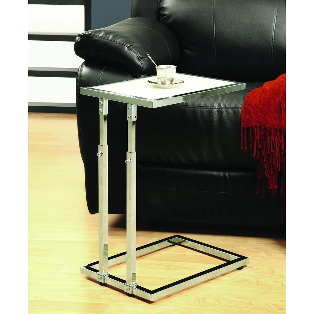 Chrome metal adjustable height accent table with tempered