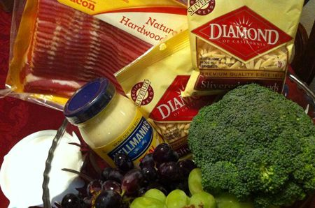 Veggie / Fruit Salad   Ingredients:  1 bunch of broccoli 1 cup seedless red grapes 1 cup seedless green grapes 1 cup chopped celery 1 bunch chopped green onions (scallions) 1/2 pound bacon 1 cup slivered almonds 1 cup Mayonnaise or Miracle Whip 1/4 cup sugar 2 tablespoons white vinegar    Cook bacon...
