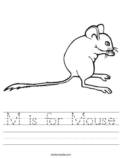 m is for mouse worksheet twisty noodle alphabet letters m n o p
