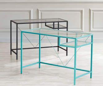 Just Home Aqua Glass Desk Modern Home Office Furniture Glass