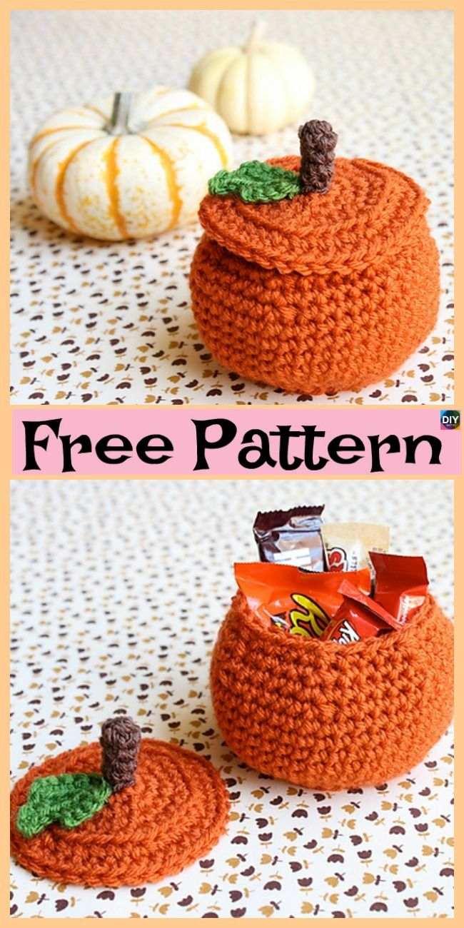 Crochet Pumpkin Treat Bowl - Free Patterns | amigurumis | Pinterest ...