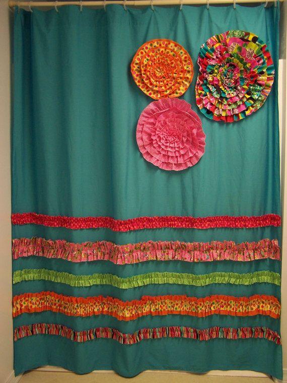 Shower Curtain Custom Made Designer Fabric Ruffles And Flowers Aqua Teal  Pink Orange Bright And Fun