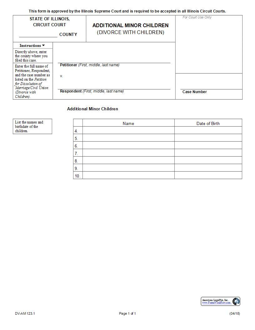 This Is A Illinois Form That Can Be Used For Divorce Within