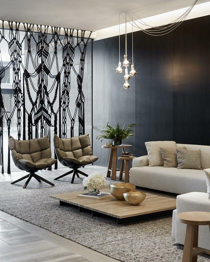 Wohnideen wohnzimmer wunderschöne hängelampen über den modernen wohnzimmertisch