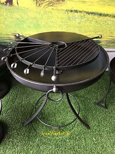 Fire Pit Bowl Brazier Kadai Logburner Wrought Iron BBQ 75CM Rotational Grill