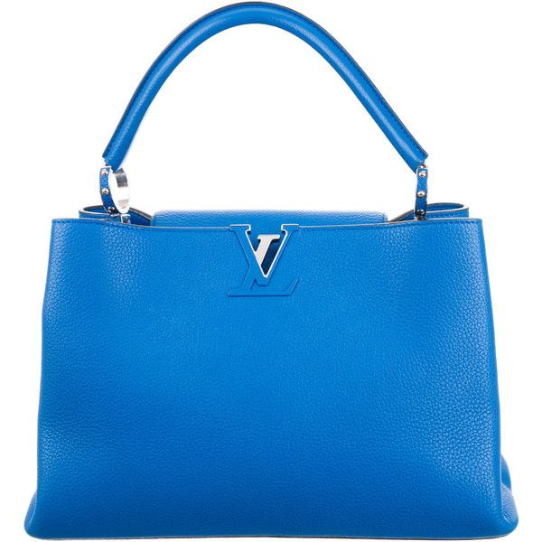 Pre-owned Louis Vuitton Taurillon Capucine MM (4 715 AUD) ❤ liked on Polyvore featuring bags, handbags, blue, studded handbags, studded purse, man bag, handbag purse and genuine leather purse