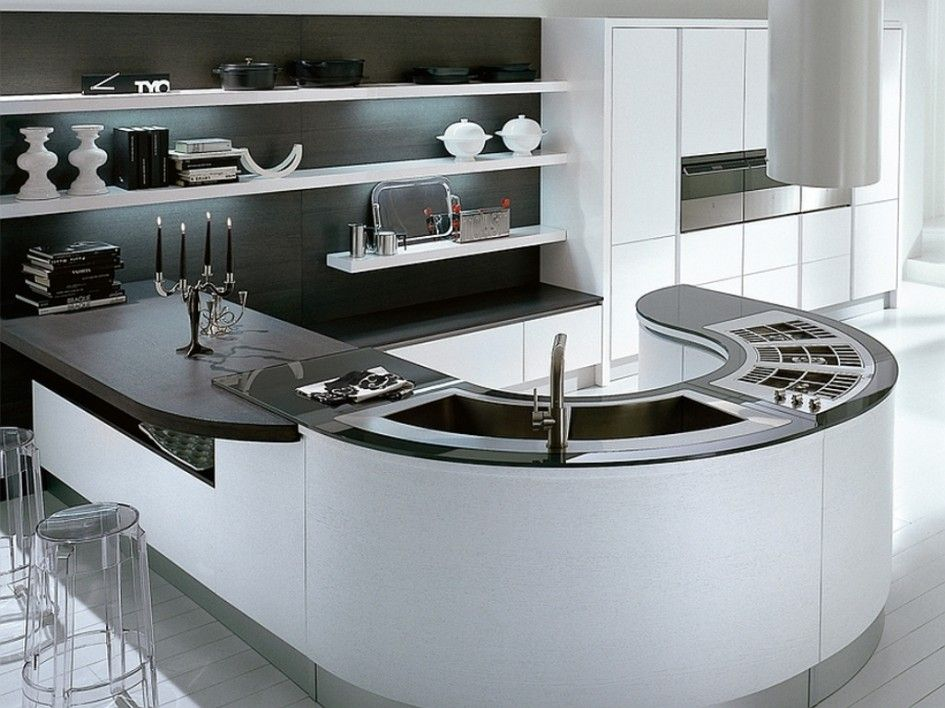 Unique Curved Kitchen Island Benches With Curved Double Bowl