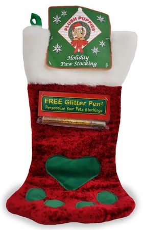e603b67cbc9 Plush Puppies Holiday Paw Stocking w  Free Glitter Pen - Large Red Now   3.85!