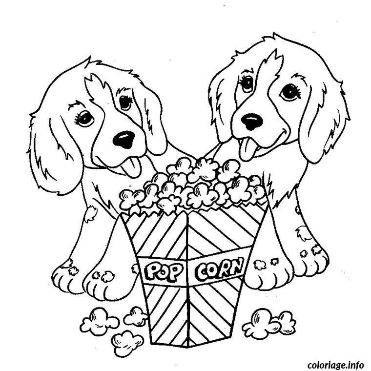 Coloriage petits chiens pop corn dessin imprimer c8 - Coloriage de chien boxer ...