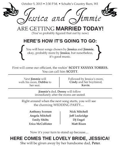 My Diy Programs Draft Weddingbee Photo Gallery Wedding Programs Wedding Humor Wedding